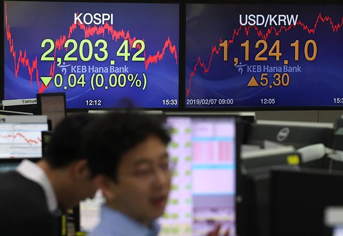 2月7日下午,以韩元兑美元汇率上涨5.30韩元收盘的首尔中区KEB韩亚银行交易室里,交易商们正在办公。图片来源:韩联社