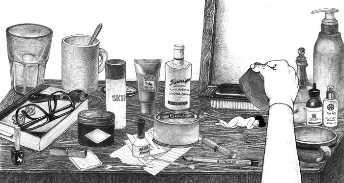 郑由美用黑白铅笔画细腻地描绘了主人公在化妆台,餐桌下与浴室角落等