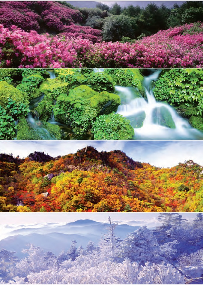 Four Seasons of Korea. 1. Spring of Baraebong in Jirisan Mountain; 2. Summer of Garibong Valley in Seoraksan Mountain; 3. Autumn of Gayasan