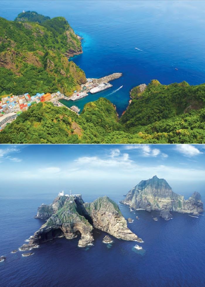 Dodong Port in Ulleungdo (top): A volcanic island lying in the East Sea and Dokdo (Ulleung, Gyeongsangbuk-do): Dokdo consists of two rocky islets, Dongdo and Seodo, situated about 150 meters apart, and 89 rocky outcrops around them.