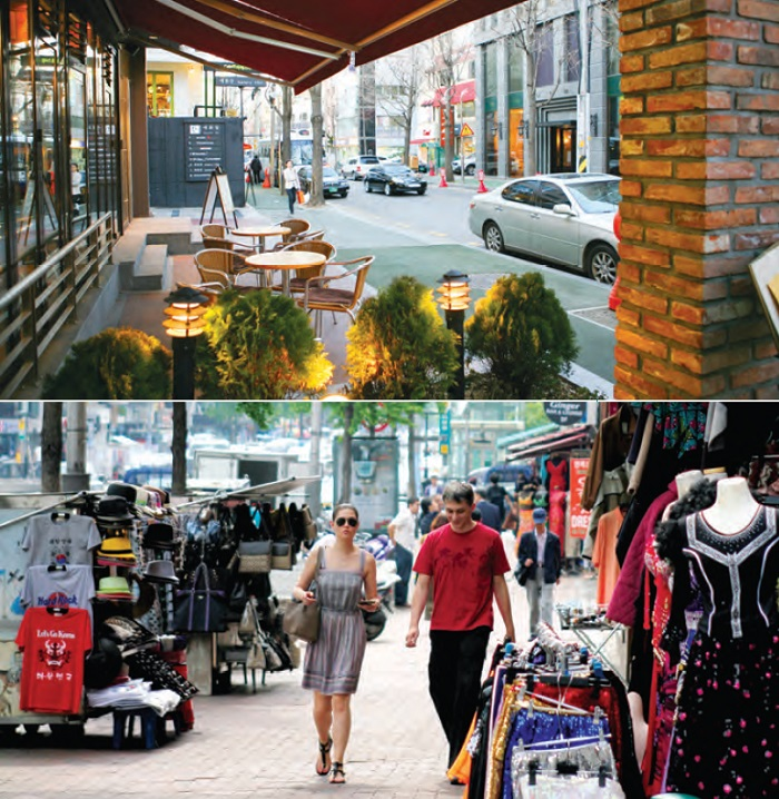 Garosu-gil of Sinsa-dong (up). A street busy with fashionminded young shoppers. Itaewon (bottom). The Korean hub of international cultures